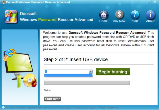 burn  password reset drive