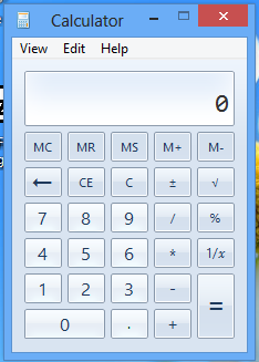 calculator interface