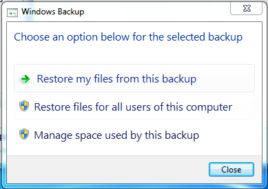 restore backup or manage size