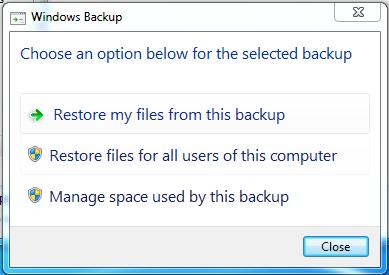 restore backup or manage size