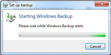 Windows 7 backup is setting up.
