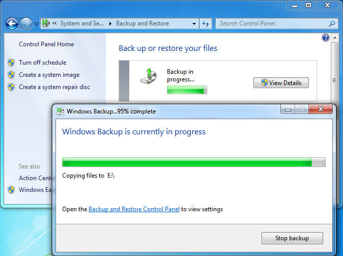 Windows is backing up.
