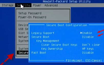 Secure boot options on HP