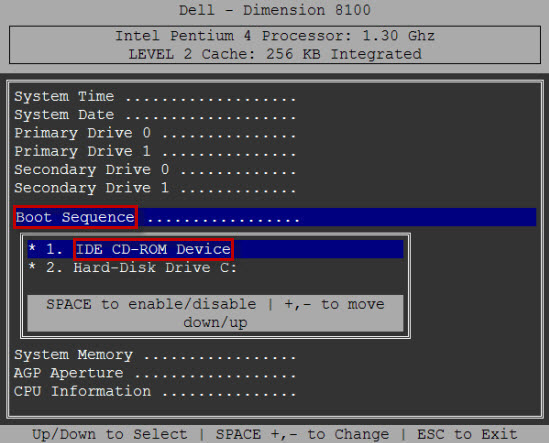 Dell bios menu
