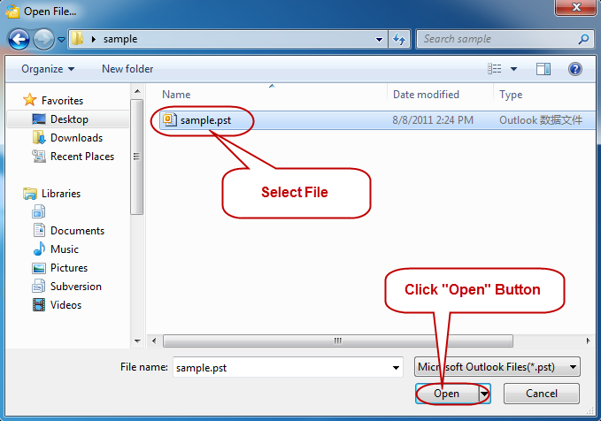 Select outlook file