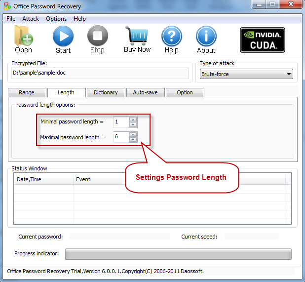 Setting Password length