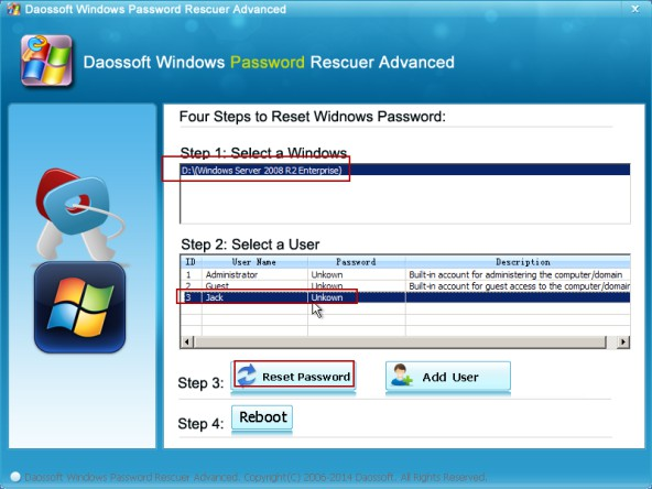 Choose Windows OS and user,click Reset Password