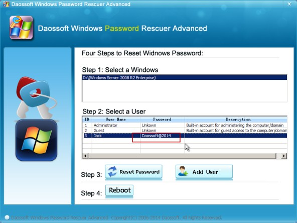 Reset successfully and write down new password
