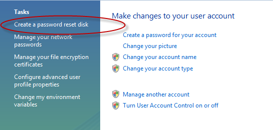 choose create a password reset disk
