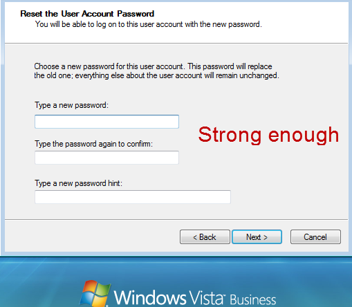 new a strong password