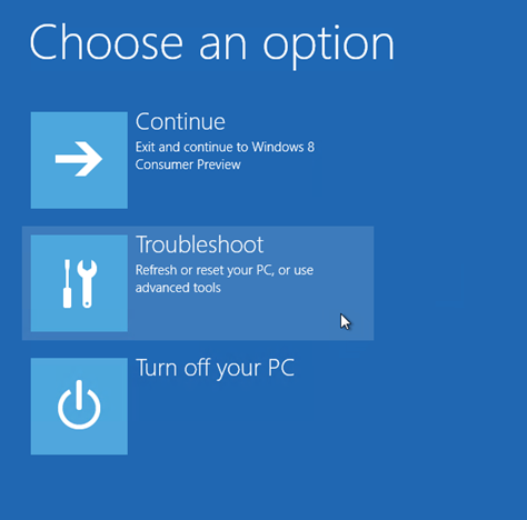 choose troubleshoot