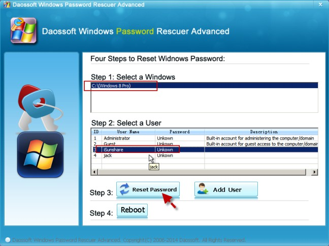select the windows os and user and reset