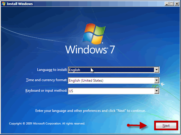 click next install windows 7