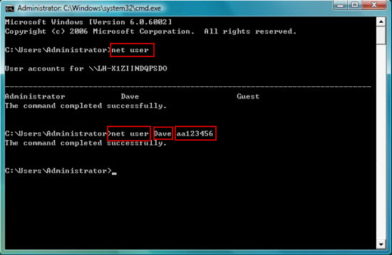 bypass 7 password net user