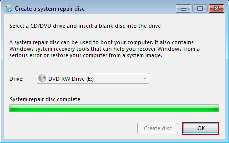 Create a Windows 7 system repair disk