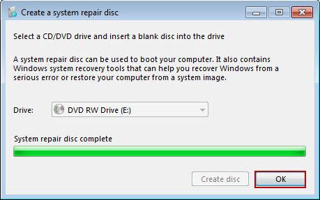 Utwórz dysk naprawczy systemu Windows 7