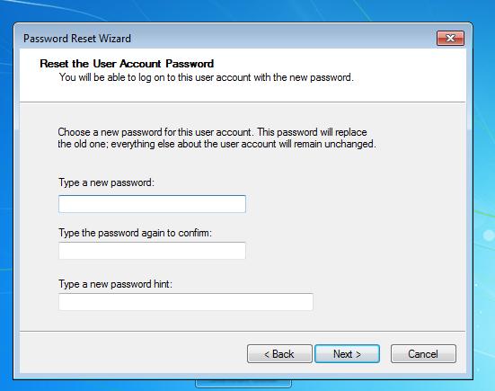 how to create usb reset password windows 7