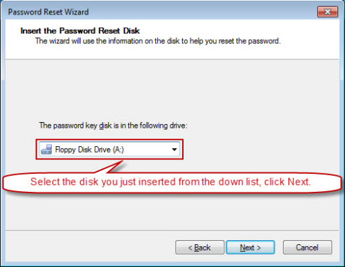 insert and select password disk