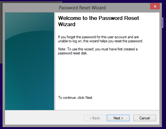 enter password reset wizard