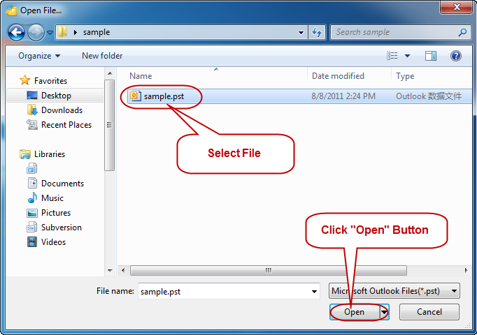 Select the Outlook 2007 File