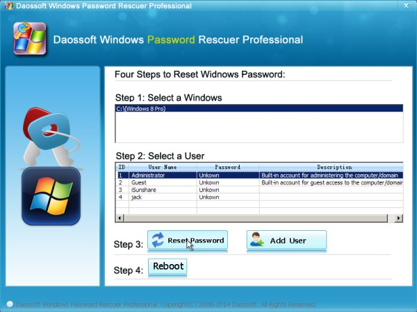 Select and reset windows 8 user