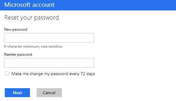 reset your outlook account password