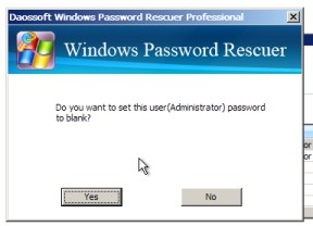 click reset password and yes to go on
