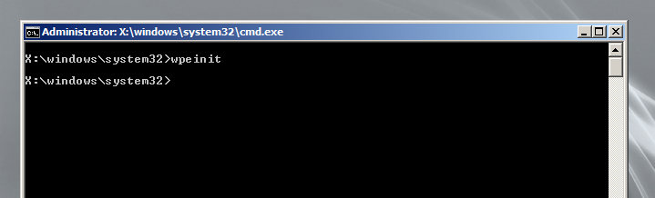 open Windows PE Command Prompt