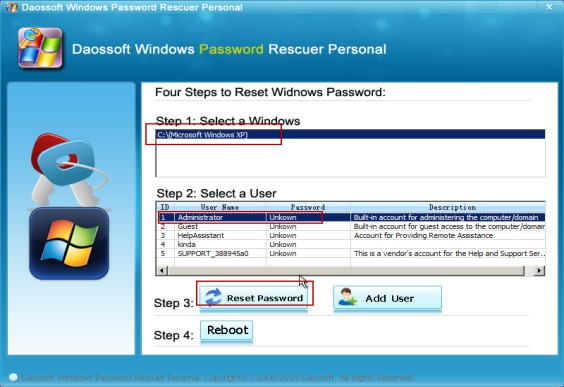 Select the Windows and user to reset
