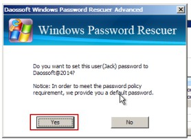 Click reset password