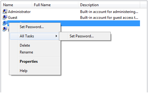 Choose Set Password
