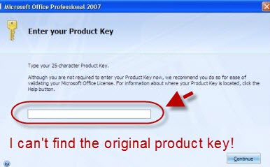 recover ms office 2007 product key