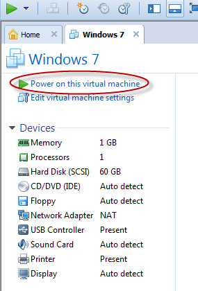 power on the virtual machine