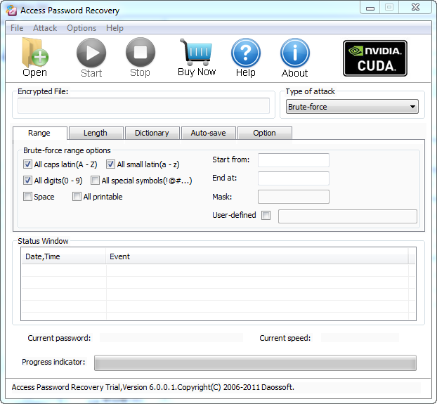 Screenshot of Daossoft Access Password Recovery 6.0.0.5