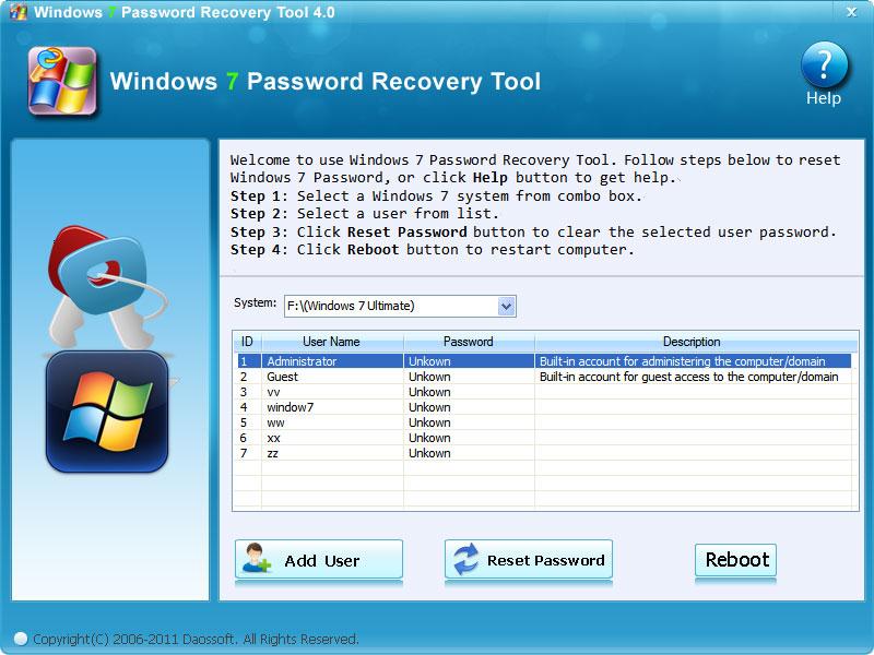 Daos Windows 7 Password Recovery Tool