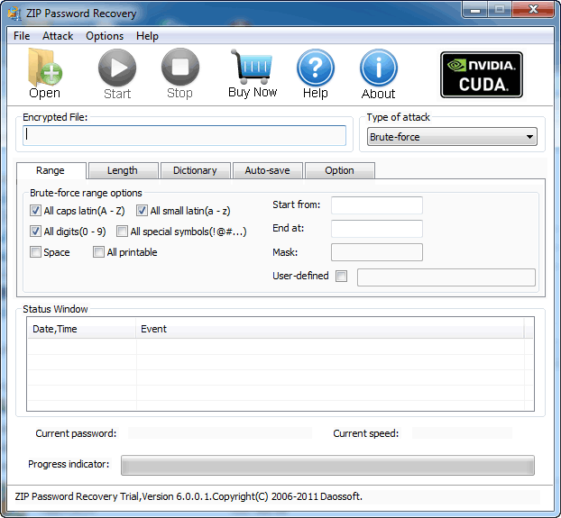 Daos ZIP Password Recovery Screen shot