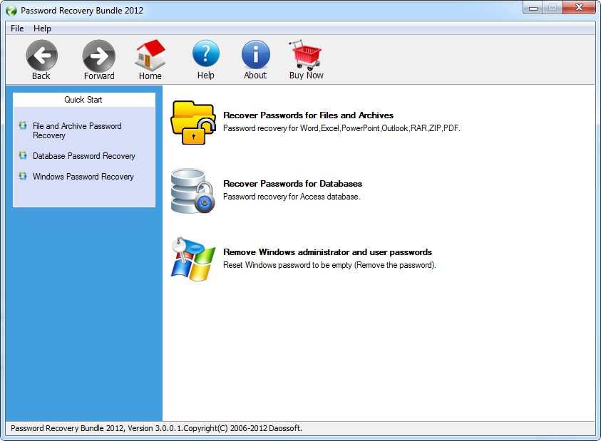 Click to view Password Recovery Bundle 2012 Personal 3.0.0.2 screenshot