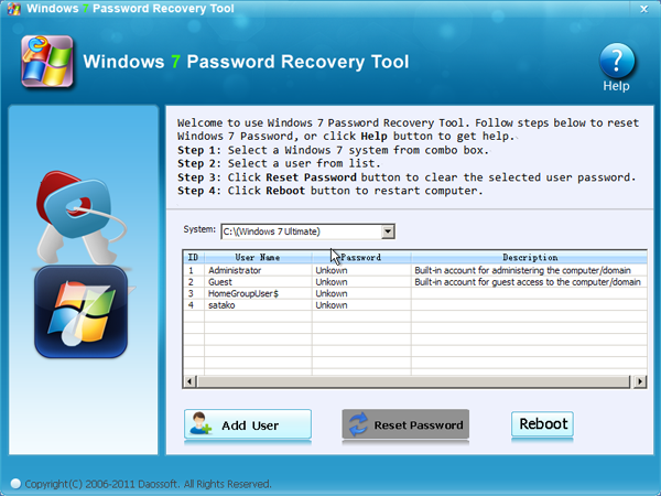 Windows 7 Password Recovery Tool screenshot