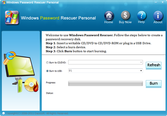 Windows Password Rescuer Personal Screen shot