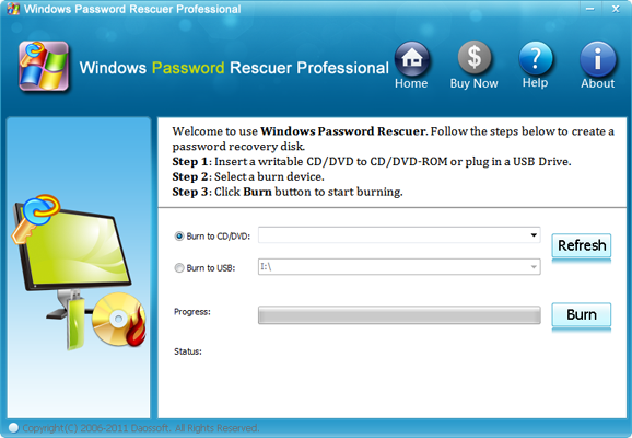 Windows Password Rescuer Professional 6.0.0.1 screenshot